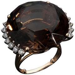 Large 14 Karat Gold Quartz and Diamond Ring, USA, 1950s