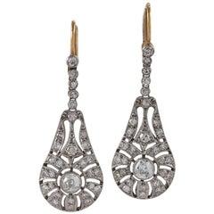 Art Deco Diamond Platinum and Gold Ear Pendants