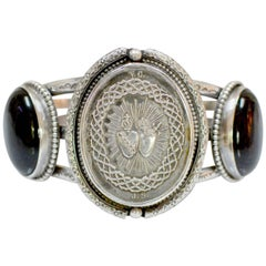 Jill Garber Antique French Silver Sacred Heart Medal with Onyx Cuff Bracelet