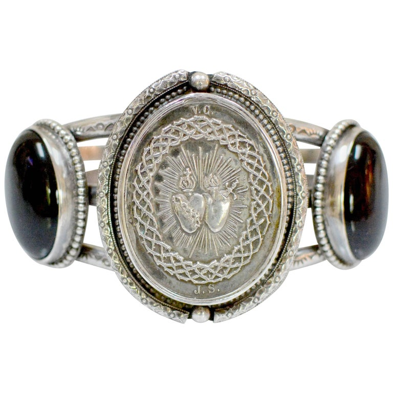 Jill Garber Antique French Silver Sacred Heart with Onyx Cuff Bracelet