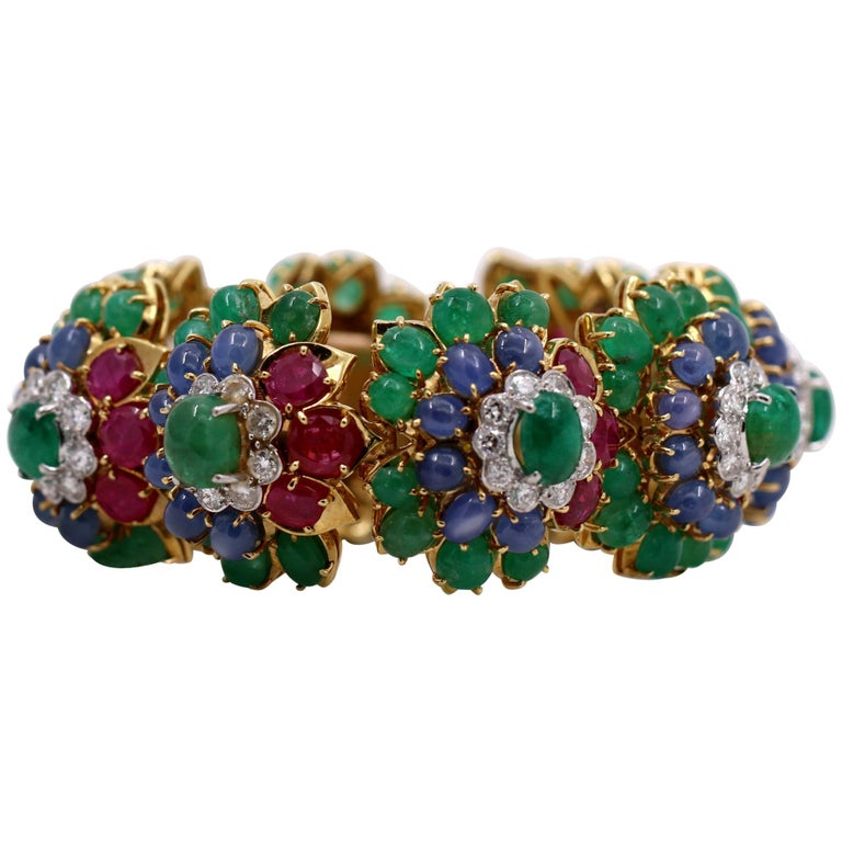 Floral Multi-Color Gold Bracelet with Diamonds Emeralds Rubies and Sapphires