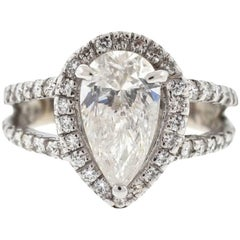 14 Karat White Gold Engagement Ring Two-Row Setting Pear Shape 2 Carat Diamond