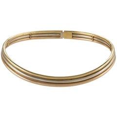 Italian 1970s Tri-Color Gold Collar Necklace