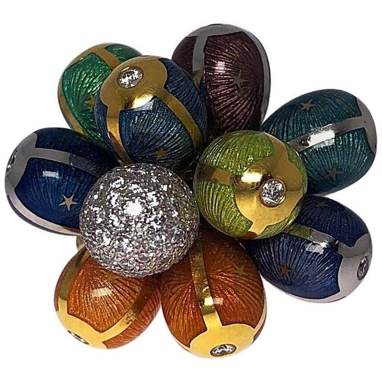 Modern Faberge 1.53 Carat, Multicolored Enamel Egg Cluster Ring