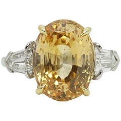 Platinum 12.89 Carat Yellow Sapphire Ring