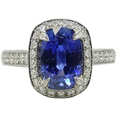 4.09 Carat No Heat Sapphire Ceylon Ring