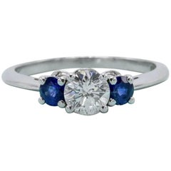 Tiffany & Co. Diamond and Sapphire Ring 1.32 Carat Three-Stone Set in Platinum