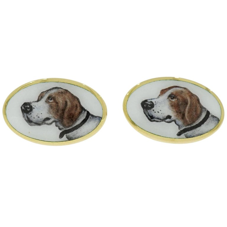 Hand-Painted Dog Portrait Oval Cufflinks For Sale