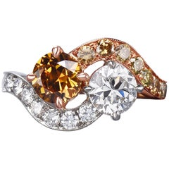 GIA Natural Fancy Deep Yellowish Orange and White Old Cut Diamond Twin Ring