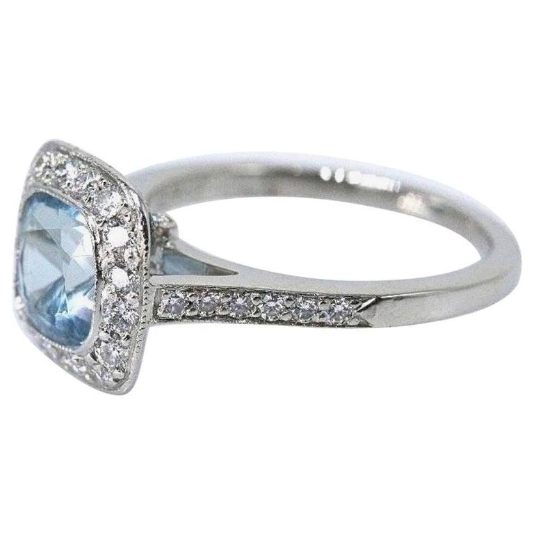 Authentic Tiffany & Co. Legacy 1.57 Carat Aquamarine Diamond Ring in Platinum