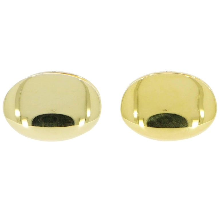 Solid Yellow Gold Double-Sided Oval Cufflinks For Sale