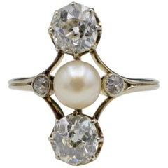 Napoleon III Old Mine Cut Diamonds and Fresh Water Pearl Ring Josephine Style