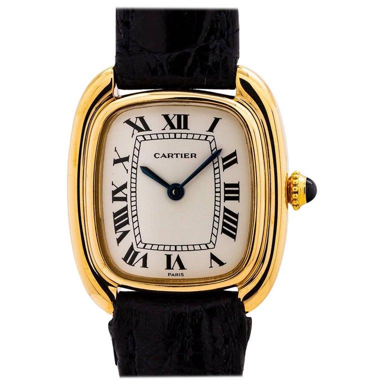 Cartier Ladies Yellow Gold Gondole Manual Wristwatch, circa 1980s