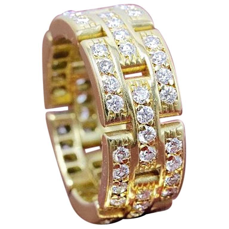 Cartier Maillon Panthere Link Diamond Three Row 18 Karat Wedding Band For