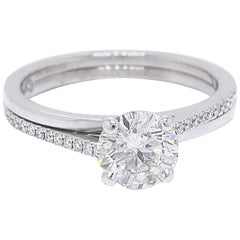 De Beers Promise Diamond Engagement Ring 1.35 Carat Round Brilliant J SI2 Papers