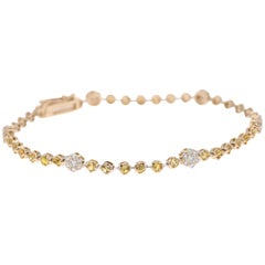 2.43 Carat Yellow Sapphire Diamond Bracelet 14 Karat White Gold