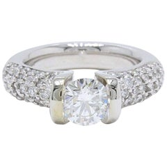 Gelin Abaci Tension Set Pave Engagement Ring Round Brilliant Diamond 1.76 Carat