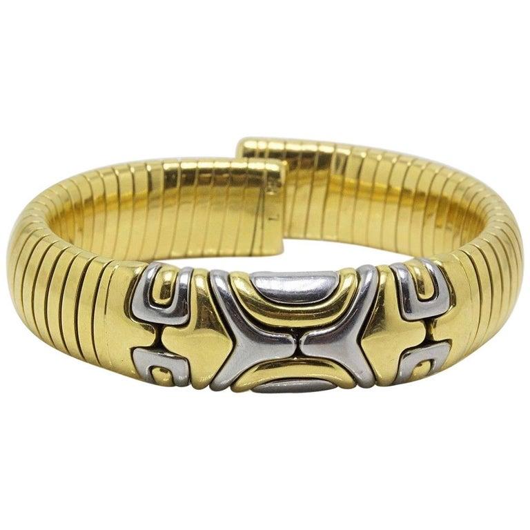 Bvlgari Tubogas Bracelet Cuff 18 Karat White and Yellow Gold Alveare
