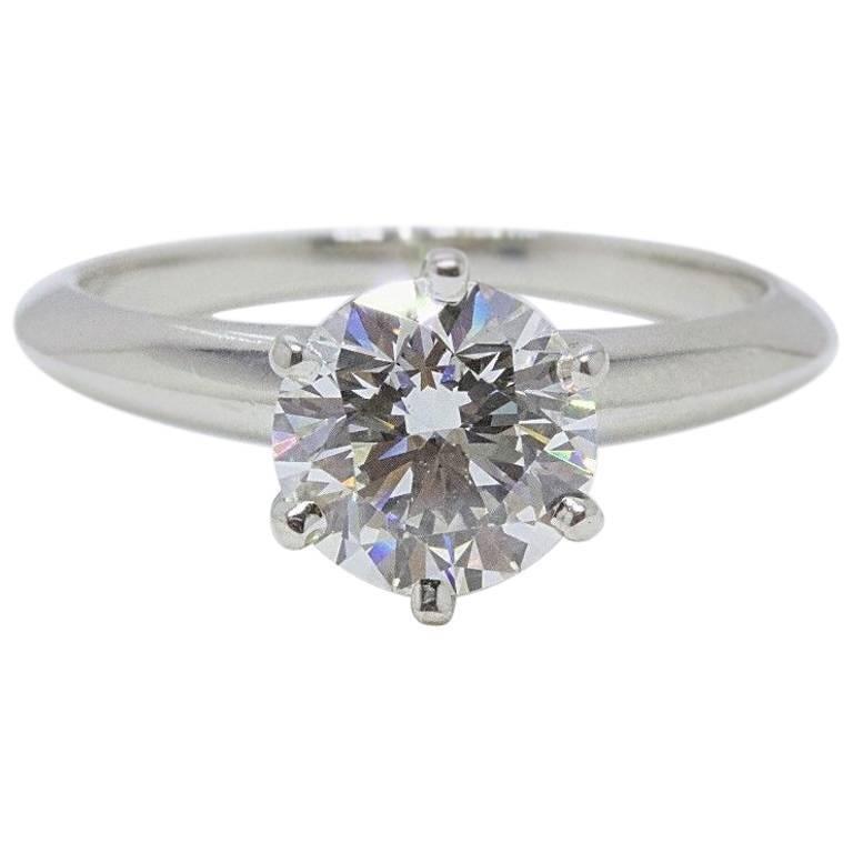 Tiffany & Co. Round Diamond 1.33 Carat G VVS1 Platinum Engagement Ring