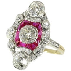 2.15 Carat Diamond Ruby 18 Karat Yellow Gold Engagement Ring