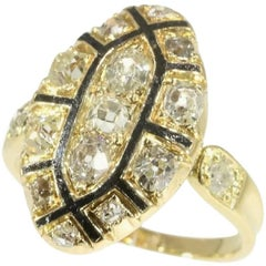 Antique 1.50 Carat Diamond Black Enamel 18 Karat Yellow Gold Ring