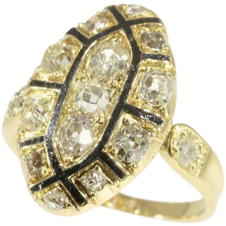 18th Century Antique 1.50 Carat Diamond & Black Enamel 18 Karat Yellow Gold Ring For Sale