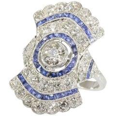 Blue Sapphire 2.52 Carat Diamond Platinum Ring