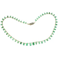 Drop Shape Certified Colombian Emerald Seed Pearls Diamond Necklace