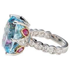 Aquamarine, Rubelite and White Diamond 18 Karat Cocktail Engagement Ring