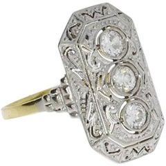 Art Deco Diamond Platinum and Gold Ladies Ring
