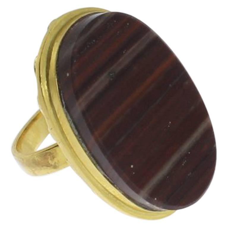 Agate 14 Carat Yellow Gold Ring