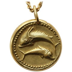 Van Cleef & Arpels Pisces Zodiac Pendant on a Gold Chain