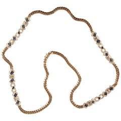 Long Gold, Diamonds and Sapphires Necklace