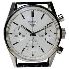 Heuer Carrera 'Eggshell White' Vintage Chronograph Ref. 2447S with Original Box