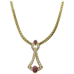 Cartier Yellow Gold Ruby and Diamond Necklace