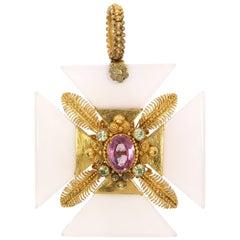 Gem and Gold Maltese Cross Pendant, circa 1820