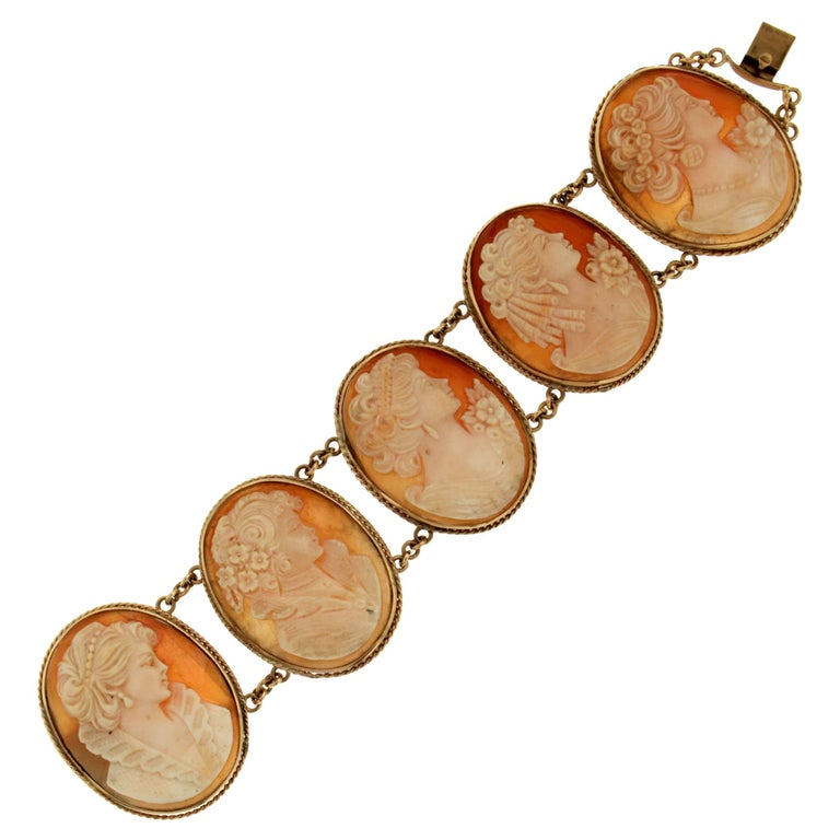Cameo Shell Gold Cuff Bracelet