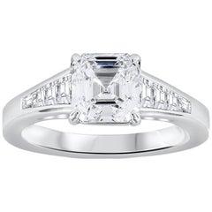 GIA Certified 1.56 Carat Asscher Cut Diamond Engagement Ring