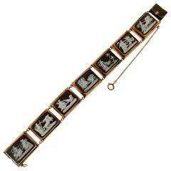Cameo 14 karat Yellow Gold Cuff Bracelet