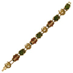 Gold Ladybugs and Frogs Bracelet