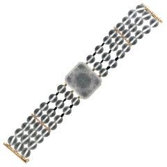 Rock Crystal Gold Onyx Diamonds Cuff Bracelet