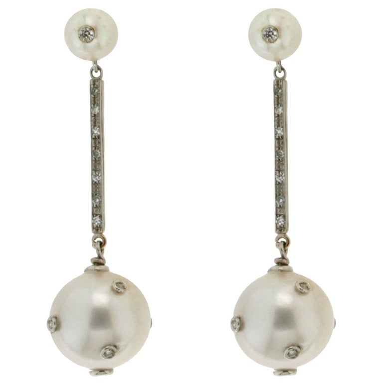 Australian Pearls Gold Diamonds Drop Earrings