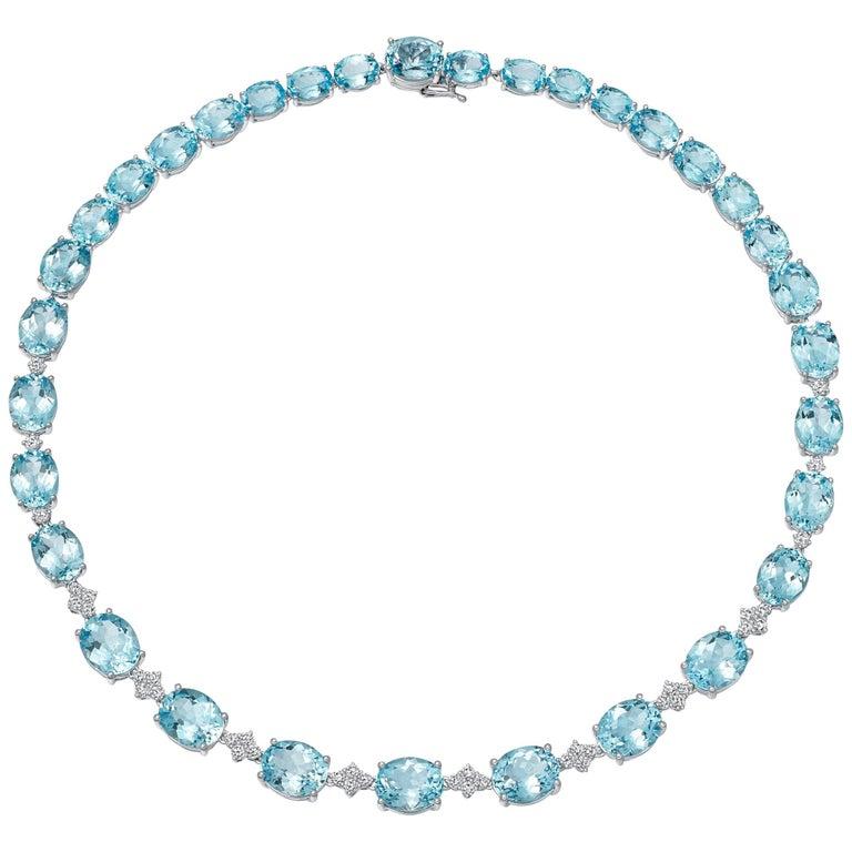 Kiki McDonough 18 carat White Gold Blue Topaz and Diamond Necklace