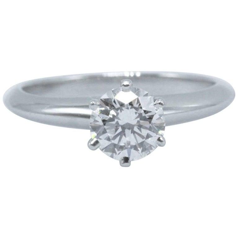 Tiffany & Co. Round Brilliant 0.70 Carat E VS1 Diamond Platinum Engagement Ring