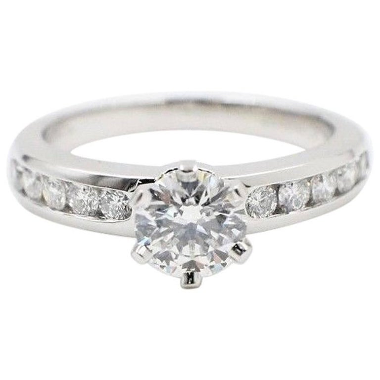 Tiffany & Co. Round Diamond 1.06 Carat Platinum Diamond Band Engagement Ring