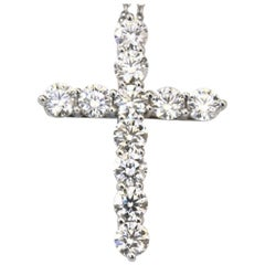 Tiffany & Co. Large Cross 1.71 Carat Round Brilliant Diamond Pendant Necklace
