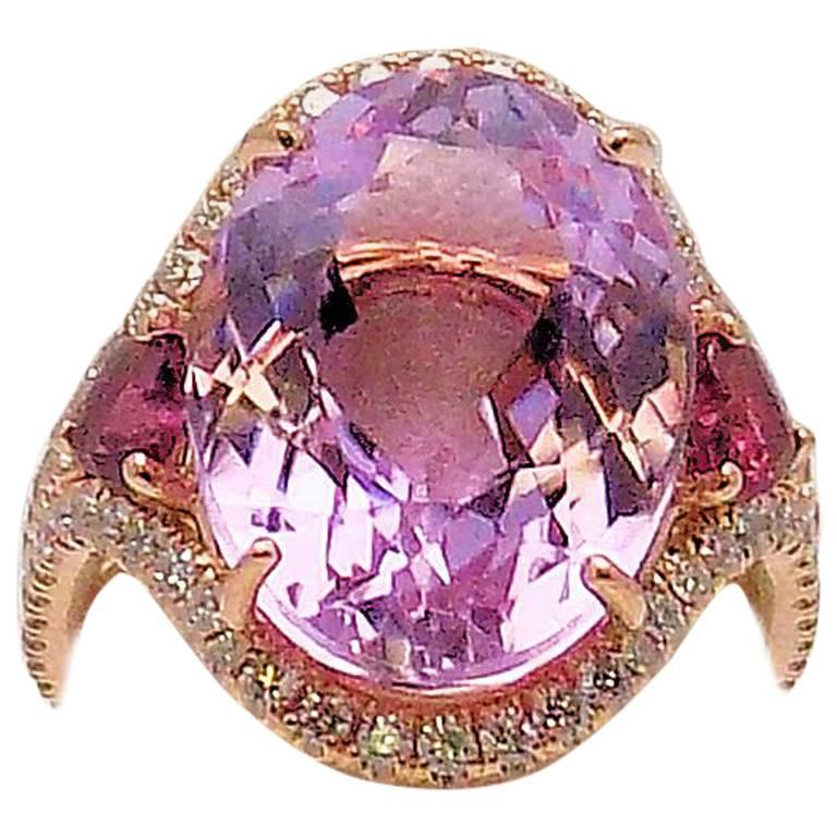 Kunzite and Diamond Ring For Sale