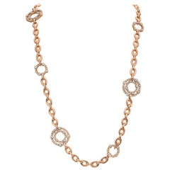 18 Karat Rose Gold and Diamond Round Link Carousel Convertible Necklace