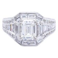 David Rosenberg 1.08 Carat Emerald GIA 18 Karat Gold Diamond Engagement Ring