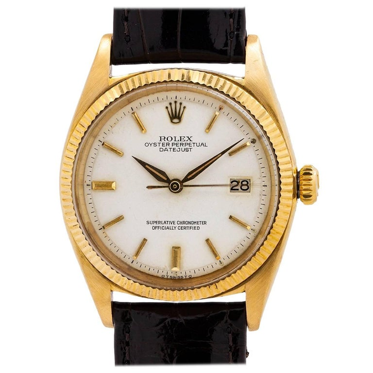 Rolex Yellow Gold Datejust White Dial Self Winding Wristwatch Ref 1601